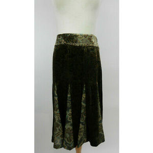 Ann Taylor LOFT 6 Skirt Brown Turquoise Flared New